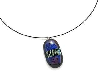 Dichroic Glass Pendant/Fused Glass Pendant/ Glass Necklace/ Purple and Gold