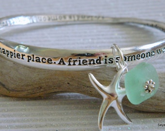 Friendship Bracelet, The Perfect Friendship, Bridesmaid, Wedding, Friend Sea Glass Charm Bracelet