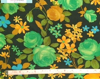 Vintage Green Roses Fabric, 1 yard