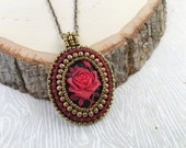 Red Rose Cameo Necklace-Sweet. Red Rose. Small. Cameo. Elegant. OOAK. Pendant. Vintage-inspired. Valentine. Seed Bead. Necklace.