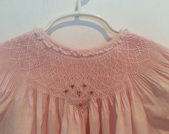 Pink handsmocked dress -baby dress - pink smocked dress