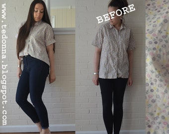 Vintage Calico Button Down Blouse With Lace Hem