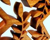 Cross / Wall Decor / Leaf Design / Cherry Wood