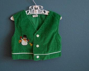 Vintage Toddler's Green Corduroy Snowman Vest and Pants Set - Size 2T