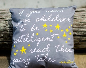 """quote pillow cover """"if you want your children to be intelligent…."""""""