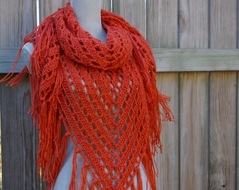 Fringed Shawl, Triangle Scarf, Hand Crocheted in Pumpkin Orange
