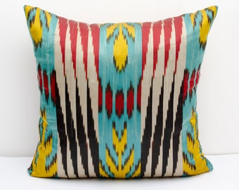 14x14 red yellow turquoise ikat pillow cover, cushion case, ikat, turquoise ikat pillow cover,  eco textile, handmade ikat, yellow, red