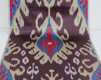 Brown cream blue red ikat fabric by the yard, ikat table runner, brown, cream, ikat fabric, brown blue ikat, blue, red, ikat, fabrics, ikats
