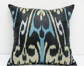 15x15 ikat pillow cover, blue, beige, black cushion case, ikat, ikats, pillows, sofa pillow, interior cushions, ikat design