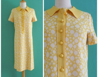 60's yellow knit shirt dress // printed polo shift dress ~ small medium
