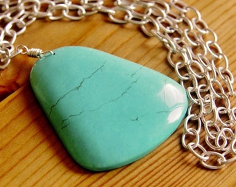 SALE - Extra very long Magnesite pendant necklace turquoise color stone gemstone boho bohemian bold chunky big statement natural jewelry