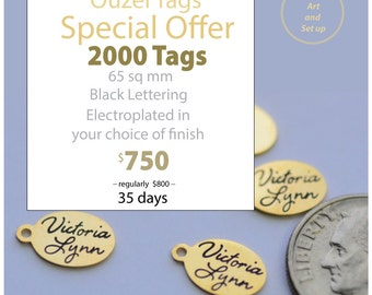 2000 Custom Designed 66 sq mm oval tags with black letters