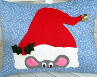Santa Mouse Christmas Pillow, Holiday Decor, Quilted Christmas Pillow, Appliqued Pillow, Christmas Decoration, Teacher Gift