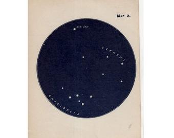1910 mini constellation figures original antique celestial astronomy print -  map 2