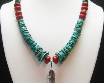 40% off Genuine Turquoise Necklace - Southwest Necklace - Turquoise and Red Coral Necklace - Sterling Silver Feather Necklace - Statement Ne