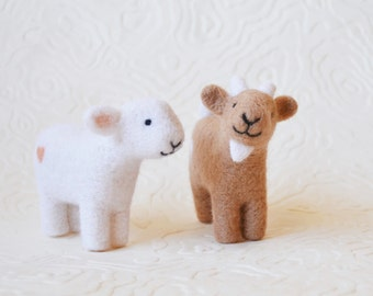 Sheep OR Goat, needle felted barnyard animal fiber art sculpture toys