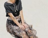 Winter Sale 15% Off!!! Silk chiffon skirt with pleats and waist tying