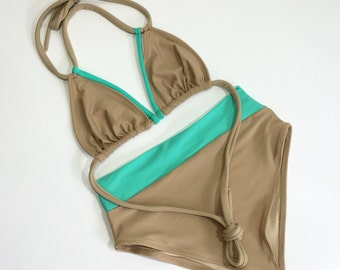 Seashore high waist strappy swimsuit