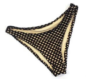 High hip mesh bikini bottom