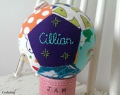 Ready to Ship Patchwork ball, hand embroidered gift, baby boy, christening gift, CE compliant, toy rattle, handmade in Ireland