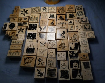 71 NEW Lot Stampin Up! Rubber Stamps Retired 1999 2001 2002 2003 2004 2005 2006