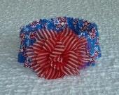 "Patriotic Star Collage Dog Scrunchie Collar - striped chiffon & tulle flower - M: 14"" to 16"" neck"