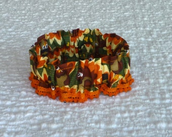 "Watercolor Turkeys Dog Scrunchie Collar with petite pom poms - S: 12"" to 14"" neck - TrY Me PRiCe"