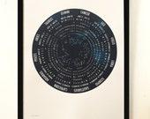2017 Zodiac Moon Calendar — blue
