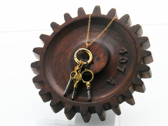 Charm Necklace | Antique Pocket Watch Key Collection | Victorian Bolt Ring | Three Brass Watch Keys | Lucky Numbers 5 & 8 - 24 Inch Chain