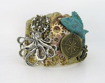 Steampunk Bracelet, Cuff Bracelet, Assemblage Jewelry, Steampunk Jewelry, Silver Jewelry, Gold Jewelry, Assemblage Bracelet, Octopus, SB003