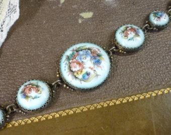 handpainted Russian Rostov Finift bracelet