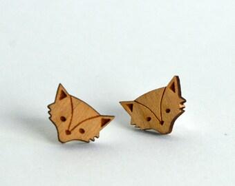 Wooden Fox Head Earrings - Handmade laser cut silver plated stud earrings