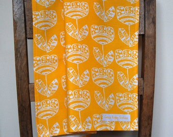 Scandi Tulip Motif. Screen Printed Tea Towel in Bright Sunshiny Yellow. Manufactured in the UK. 100% Cotton.