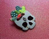 Cactus Skull brooch, skull brooch, skull pin, cactus jewelry, skull jewelry, succulents