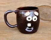 Cups and Mugs. Ceramic Wheel Thrown Pottery Face Mug. Large 16 Ounce Coffee Cup. Hot Tea Mug. Dark Chocolate Black. Original Stoneware Mugs.