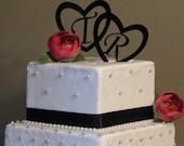 ON SALE Wedding Cake Toppers, Heart Monogram Cake Toppers, Cake Toppers for Weddings, Custom Cake Toppers