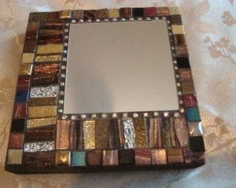 MOSAIC ACCENT MIRROR, Small Square Mirror, Brown, Bronze, Gold, Silver, Home Decor