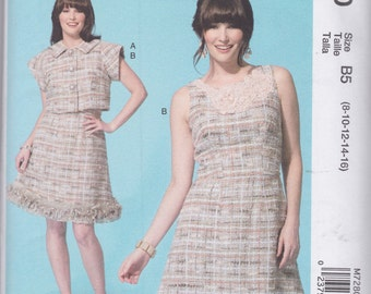 McCall's Pattern M7280 Designer Joi, Embellished Sleeveless Dress Has Trimmed Hemline & Loose-Fitting Short Sleeved Jacket Misses' Sz 8 - 16