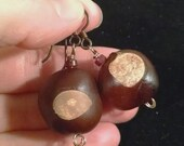 Real Buckeyes Earrings, Hypo Allergenic Earwires, Antique Bronze, Red Accents #16073, FREE SHIPPING