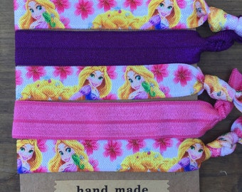 5 Pack Tangled Rapunzel Disney Inspired Knot Hair Ties Fold Over Elastic Stretch Bracelet by Whimsical Elements