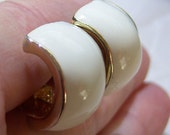 clip on earrings, small white and gold tone curved clip on earrings 1115C