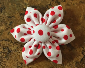 Fabric Flower Hair Bow with Alligator clip - Red polka dot