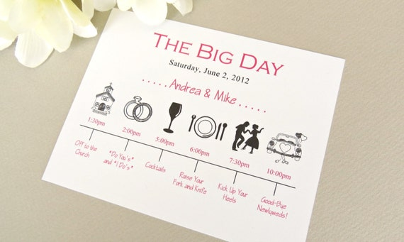 wedding day timeline schedule of events invitation card, Wedding invitations