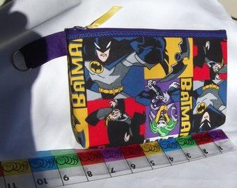 Batman Fabric Zipper  Pouch  Handmade -- Pencil Pouch, Gadget Pouch   Joker  Penguin