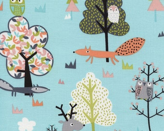 Woodland Scenic Fabric on Aqua Blue Whimsical Fox Beaver Deer Owls in a Cute Stick Tree Forest TT