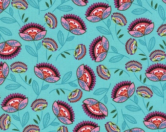 Timeless Treasures Novelty Fabric Folklore Floral Flowers Boho Paisley Pink and Red on Aqua Blue