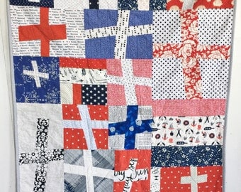 Wonky Plus Quilt, Modern Patchwork Quilt, Red, White & Blue Quilt, Baby and Child Quilt