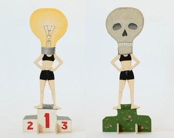 Hand painted REVERSIBLE wooden sculpture - No.1 Ideas Woman