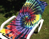 Rainbow Spiral with Black Tie-Dye Towel for Camp, Beach and Pool with Red and Turquoise