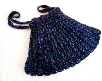Antique Navy Blue Carnival Glass Knitted Bag, 1912-1924 Drawstring Purse or Reticule. Collectible, Vintage Hand Bag